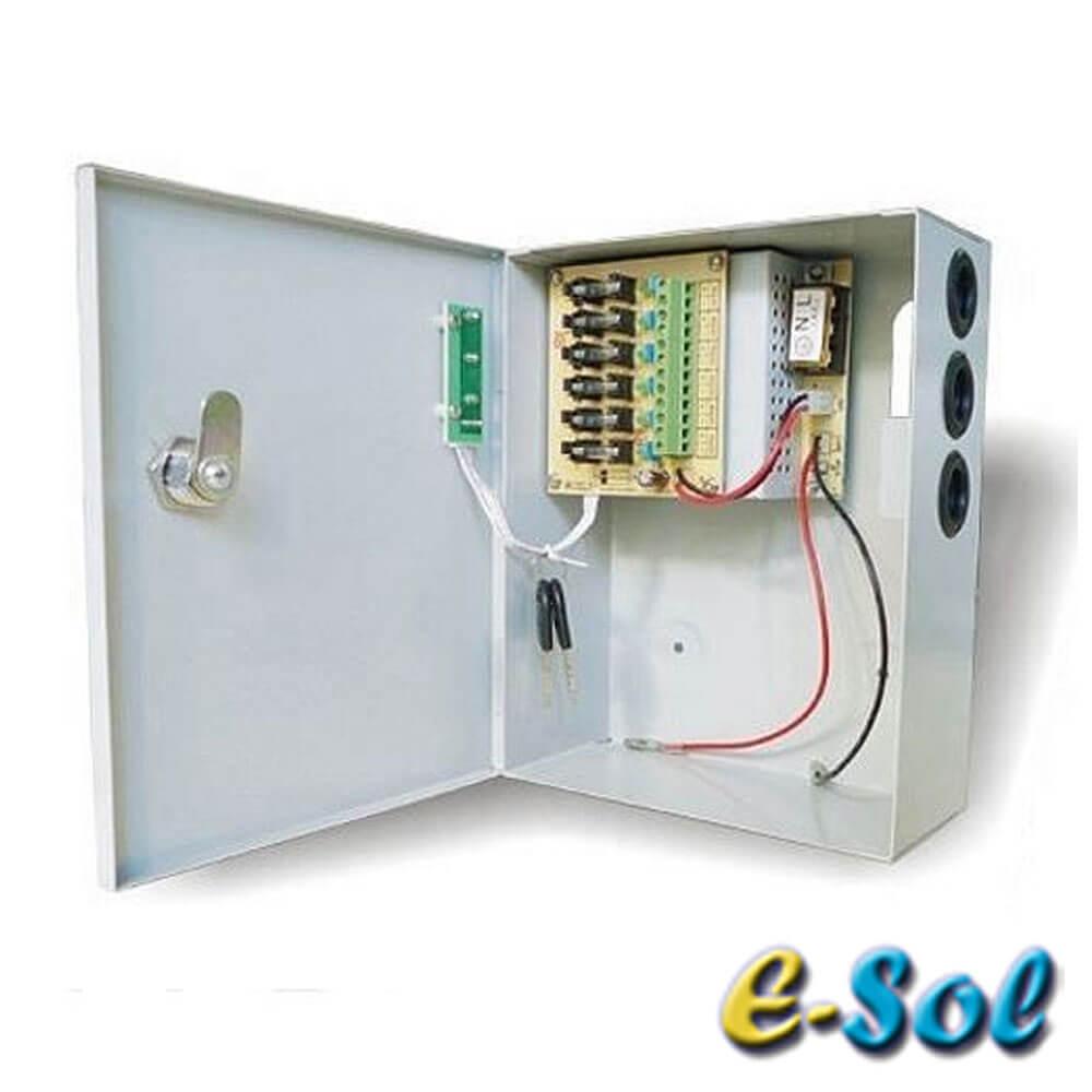 Cel mai bun pret pentru Surse alimentare E-SOL ESB12-A03-C04 Sursa de alimentare 4 camere cu acumulator de back-up in cutie de protectie