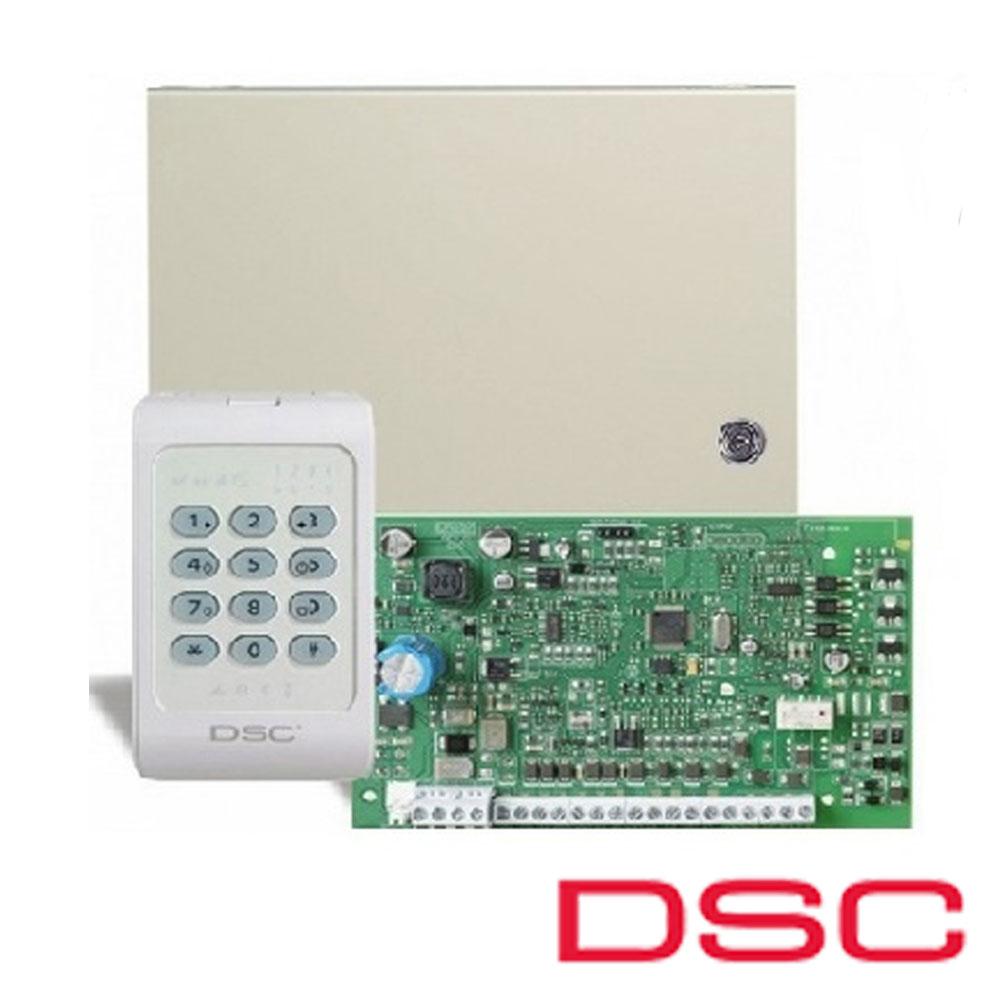 Centrala alarma 4 zone, Dublare 8 zone, tastatura si comunicator incluse - DSC PC-1404-BL