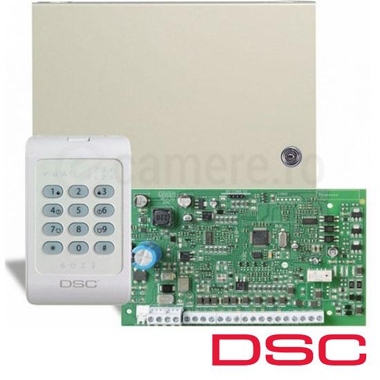 Centrala alarma 4 zone, Dublare 8 zone, tastatura inclusa - DSC PC1404