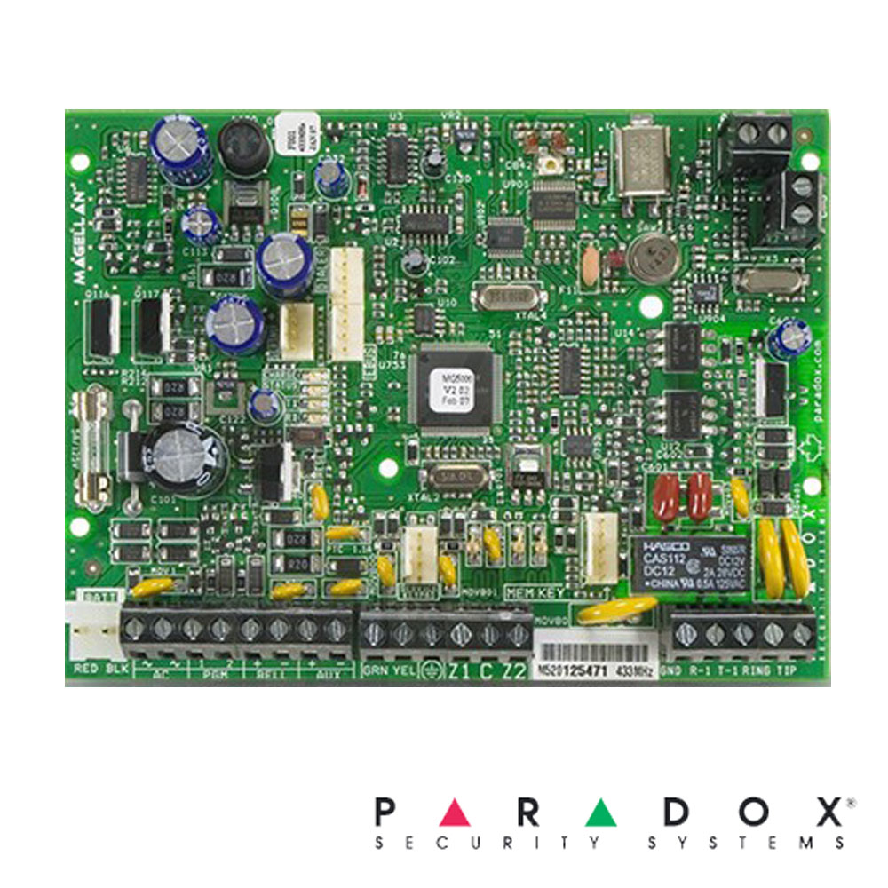 Centrala alarma pe fir, modul wireless inclus, 2 zone placa - Paradox MG5000