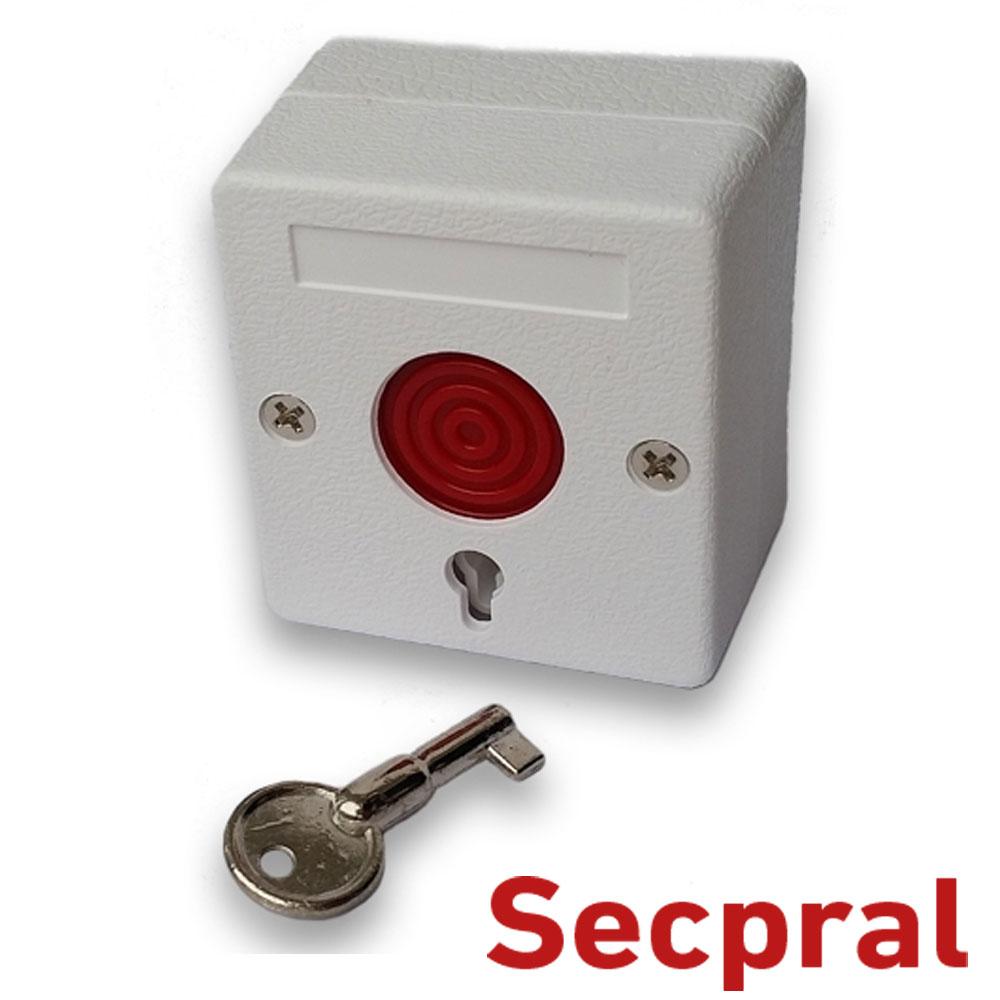 Buton de panica cu reţinere, plastic, NO/NC selectabil - Secpral BPC01