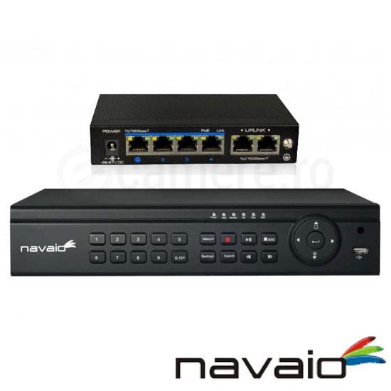 Cel mai bun pret pentru NVR-ul NAVAIO NGD-8104POE cu 2 megapixeli, pentru sisteme supraveghere video IP