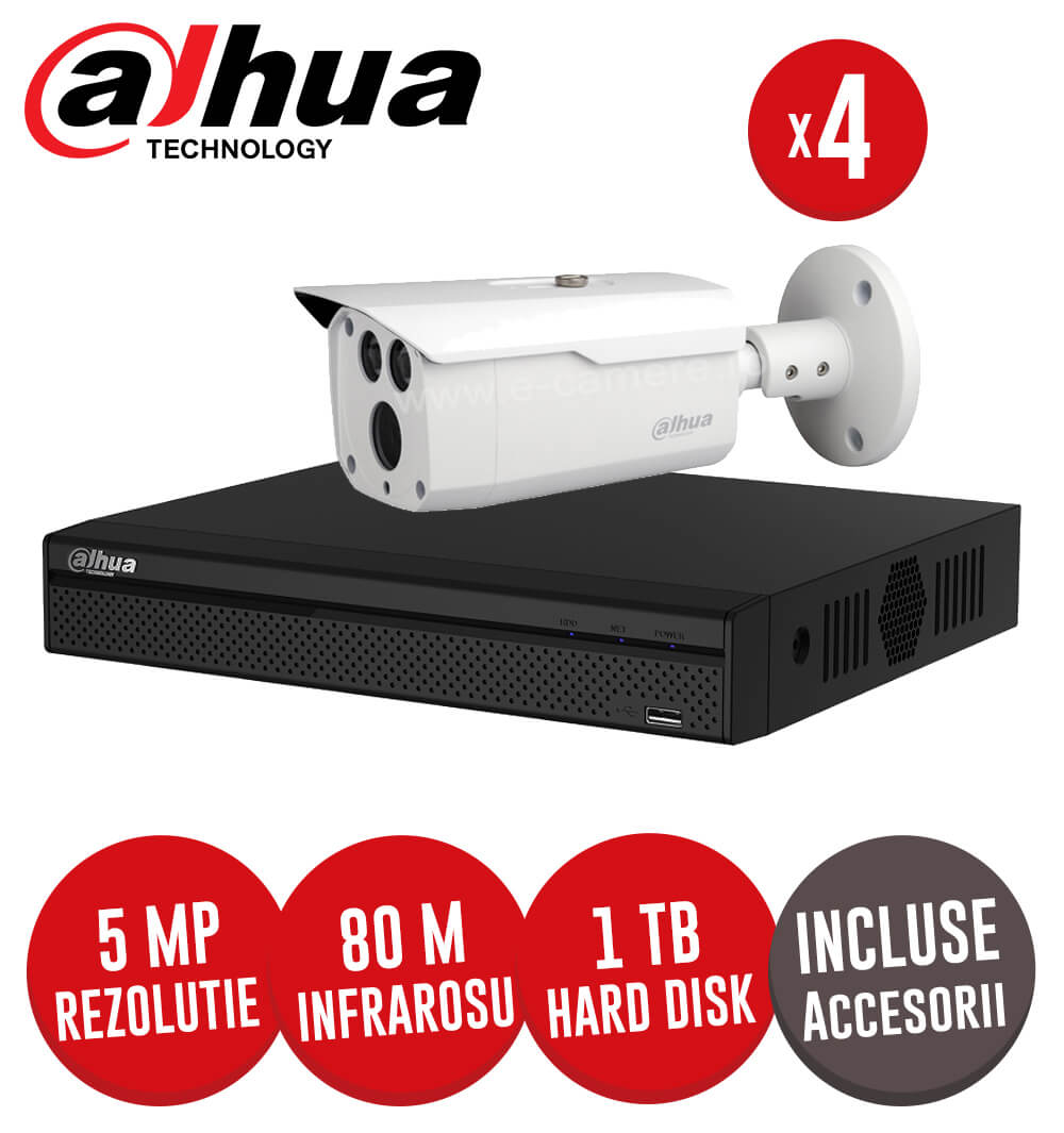 Sistem complet DVR 4 canale, 4 camere 5MP, IR 80 metri, HDD 1TB + accesorii -  KIT124