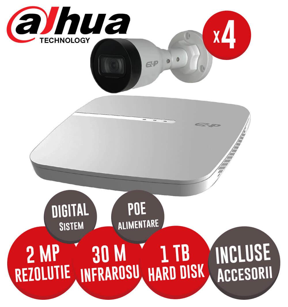 KIT Dahua - NVR, HDD 1TB, 4 camere IP 2MP, Cablu  - Conectare directa prin POE -  KIT155