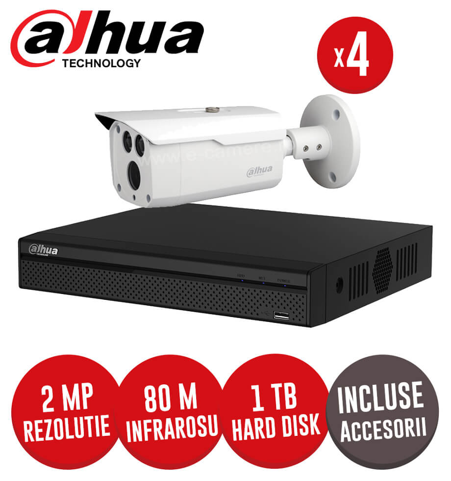 Sistem complet 4 camere 8MP exterior, Infrarosu 80m, DVR 4 canale, HDD 1TB, Accesorii -  KIT168