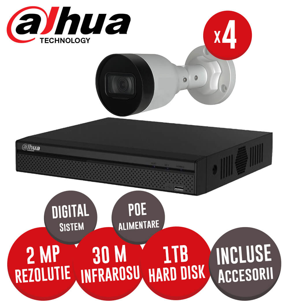 Sistem complet interior / exterior, 4 camere 2MP, Infrarosu 30m, NVR 4 canale, HDD 1TB -  KIT172