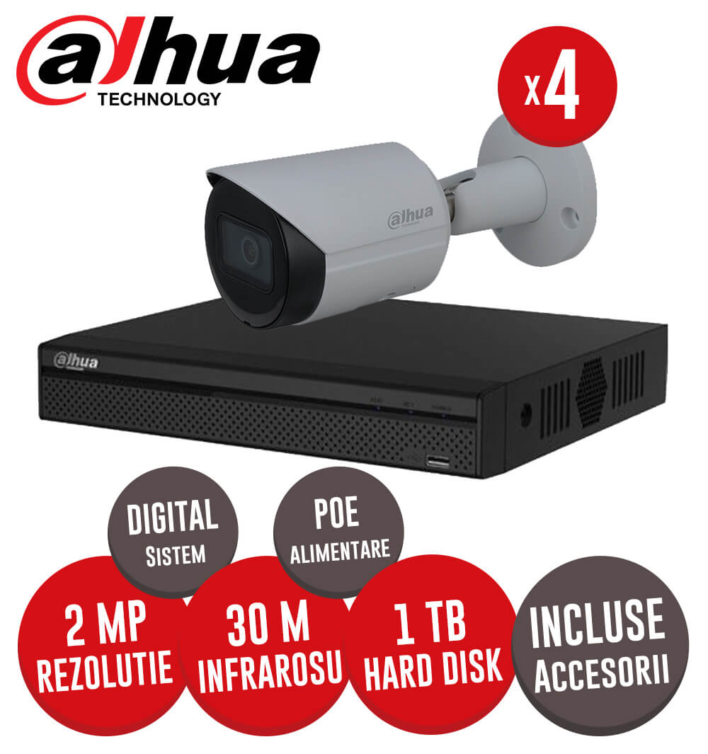 Sistem complet interior / exterior, 4 camere 2MP, Infrarosu 30m, NVR 4 canale, HDD 1TB  -  KIT173