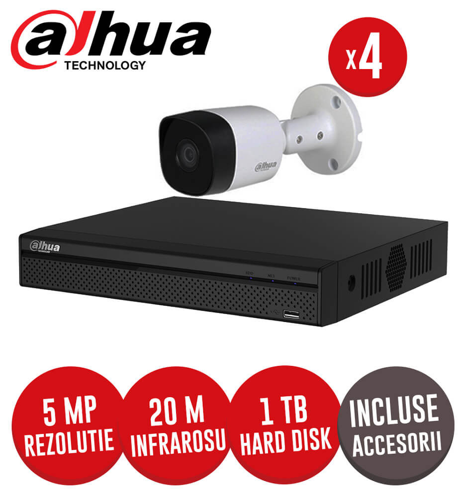 Kit complet DVR 4 canale 4K, IR 20m, 4 camere 5MP exterior, HDD 1TB si accesorii - Dahua KIT179
