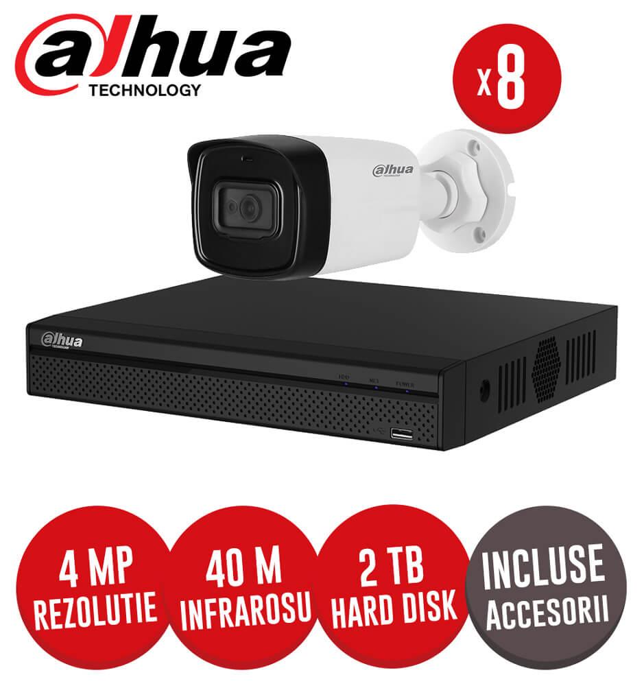 Sistem complet DVR 8 canale, 8 camere 4MP Dahua, exterior, incluse accesorii, cablu -  KIT181
