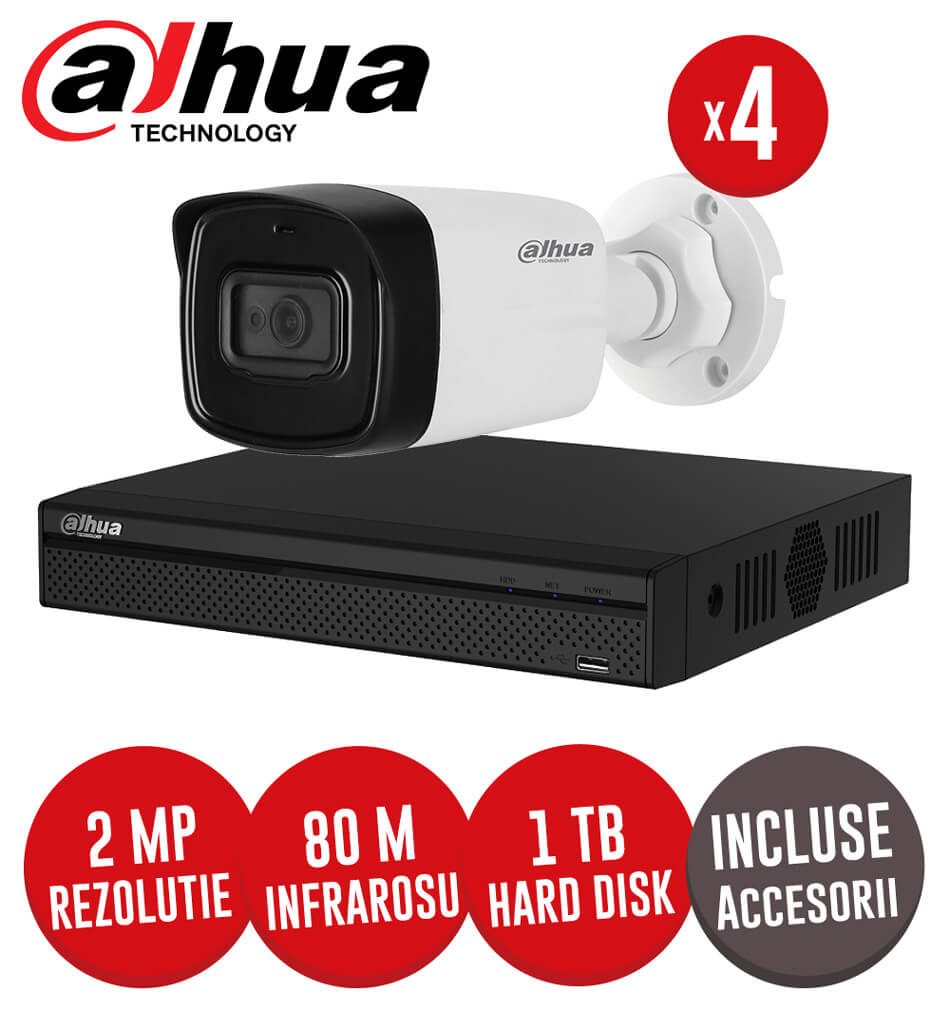 Sistem complet DVR 4 canale, 4 camere 2MP Starlight, exterior, include accesorii, cablu - KIT186