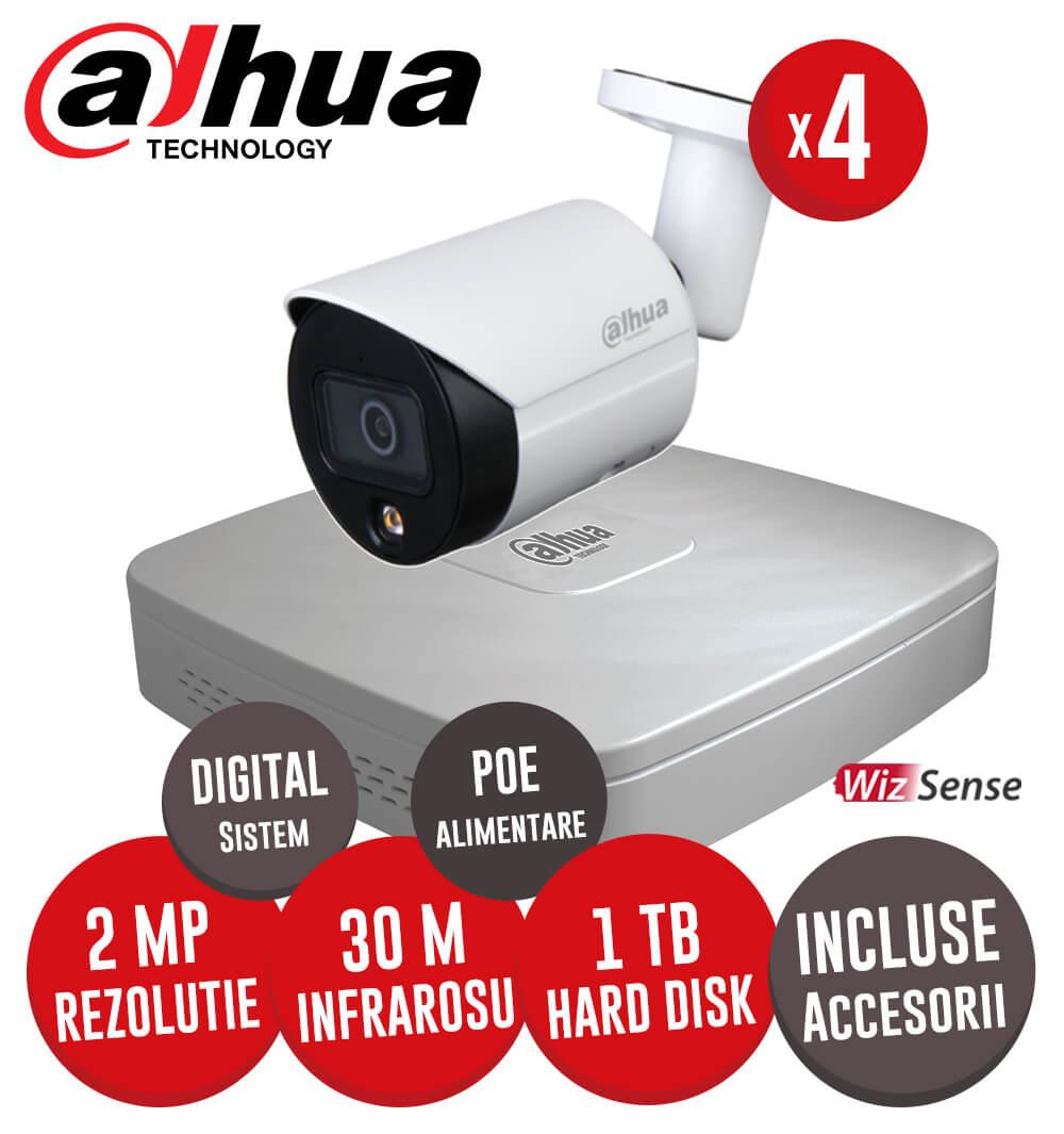 Sistem complet NVR 4 canale, 4 camere IP cu Picior 2 Megapixeli, HDD, accesorii, cablu -  KIT211