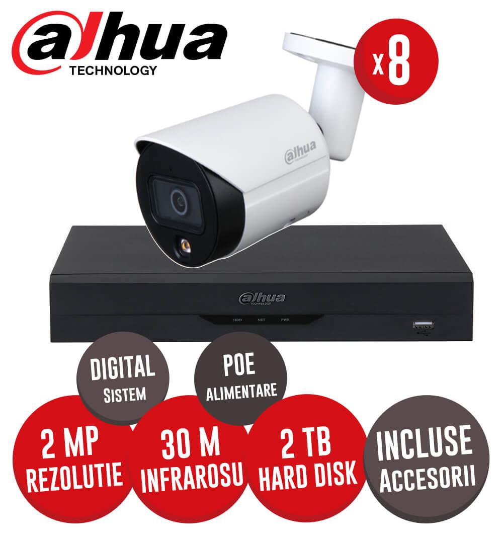 Sistem complet NVR 8 canale, 8 camere IP cu Picior 2 Megapixeli, HDD, accesorii, cablu -  KIT212