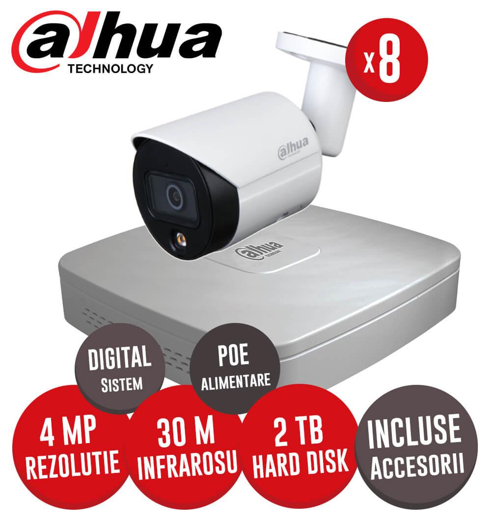 Sistem complet NVR 8 canale, 8 camere IP cu Picior 4 Megapixeli, HDD, accesorii, cablu -  KIT213