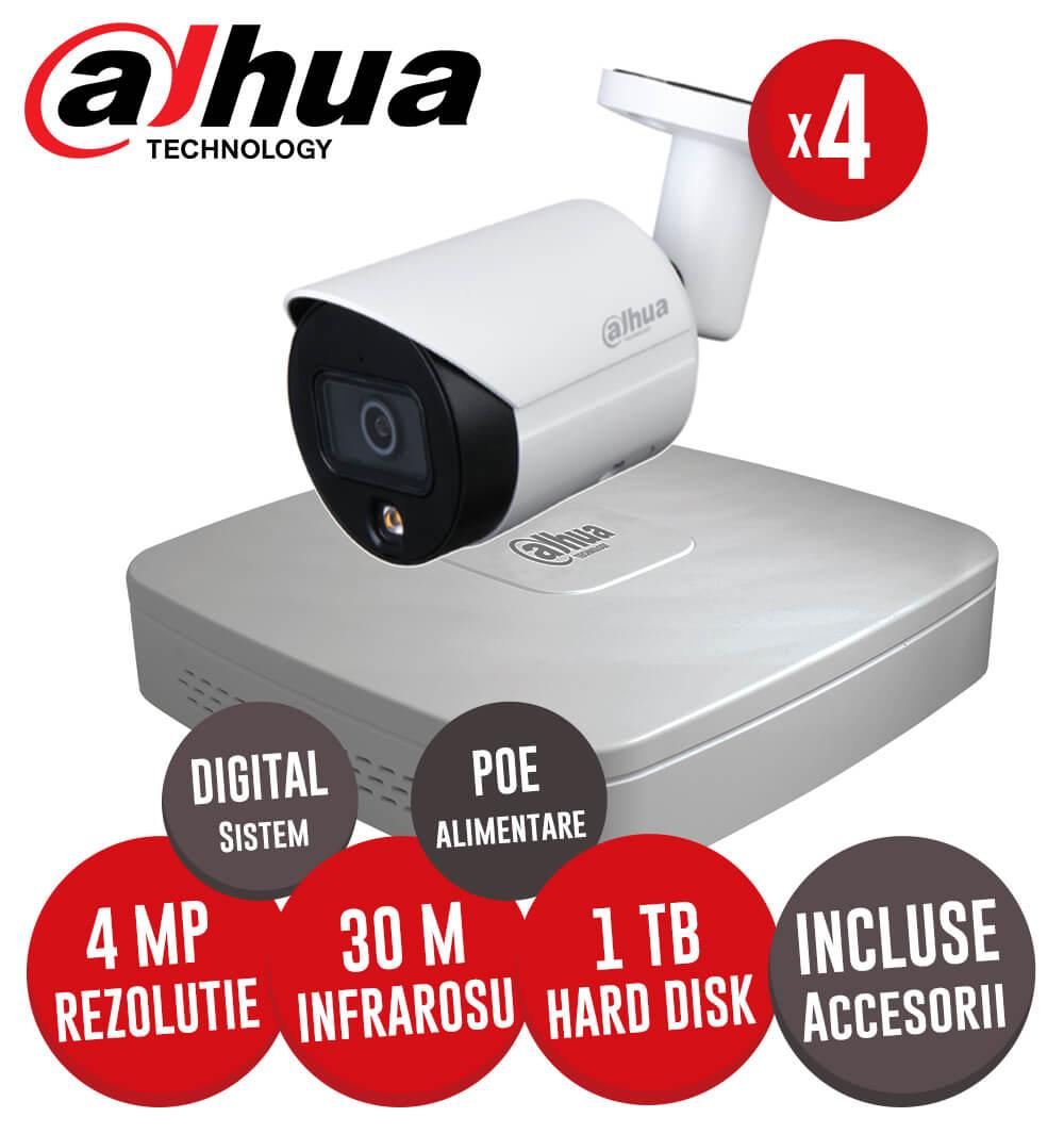 Sistem complet NVR 4 canale, 4 camere IP cu Picior 4 Megapixeli, HDD, accesorii, cablu -  KIT214