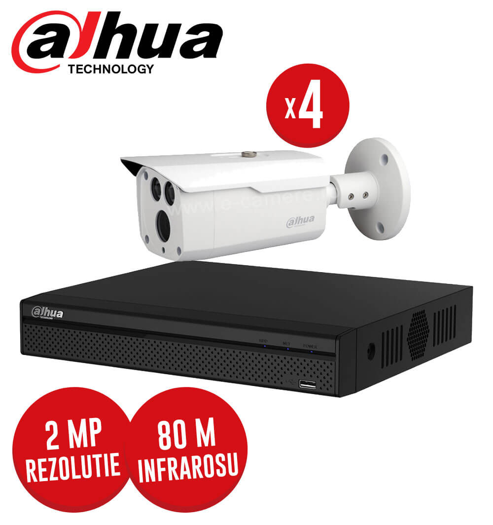Pachet DVR 4 canale + 4 camere 2MP, IR 80 metri, exterior -  KIT110