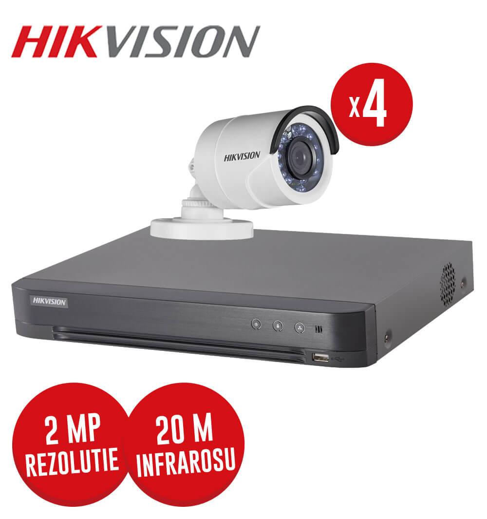 Pachet DVR 4 canale + 4 camere exterior, 2 MP, IR 20 m, Hikvision, fara accesorii -  KIT83