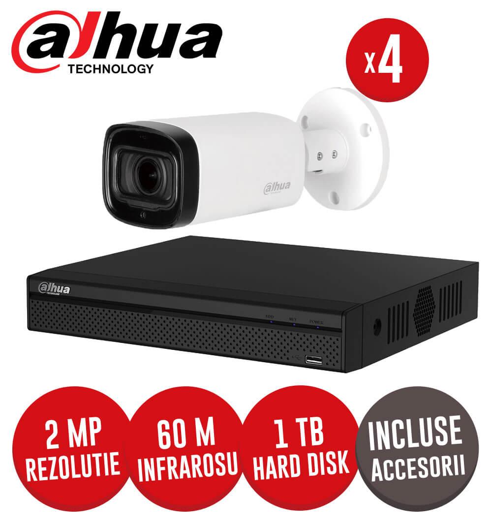 Sistem complet DVR 4 canale, 4 camere 2 MP, Zoom motorizat, incluse accesorii, cablu -  KIT148