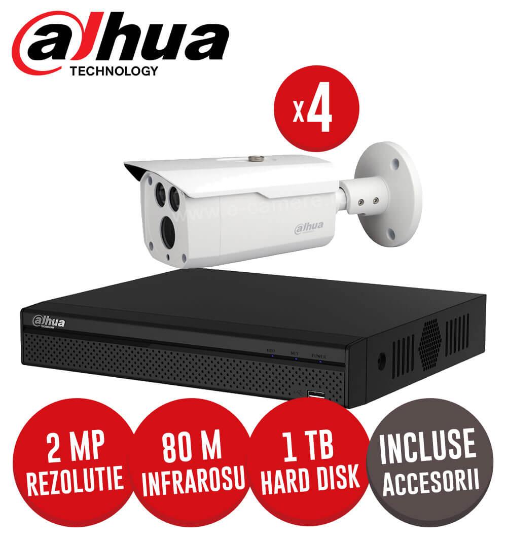 Sistem complet DVR 4 canale, 4 camere 2MP, IR 80 metri, HDD 1TB + accesorii Dahua -  KIT111