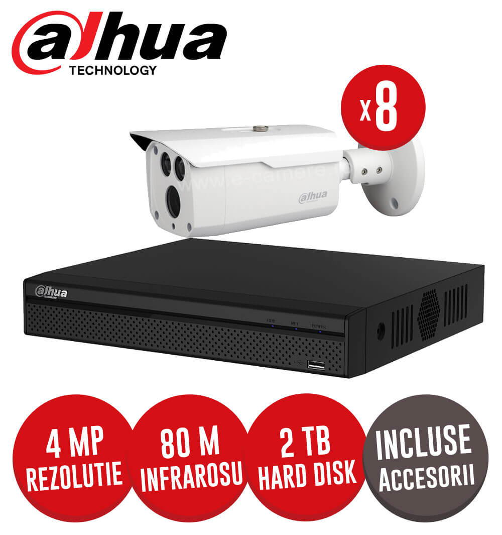 Sistem complet DVR 8 canale, 8 camere 5MP, IR 80 metri, HDD 2TB + accesorii -  KIT125