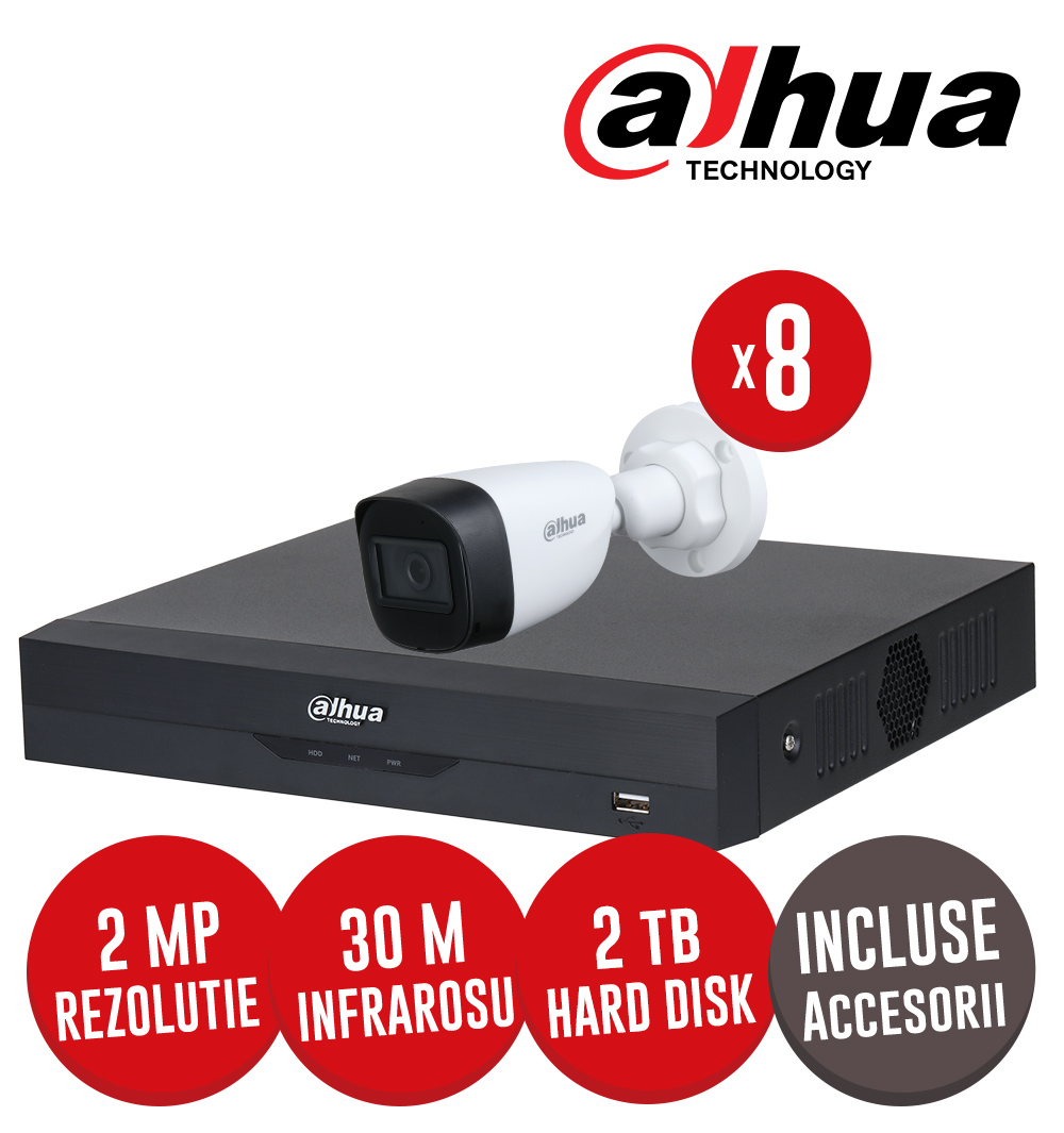 Kit complet DVR 8 canale AI, 8 camere exterior 2 MP, IR 30m, HDD 2TB, cu accesorii - Dahua KIT217