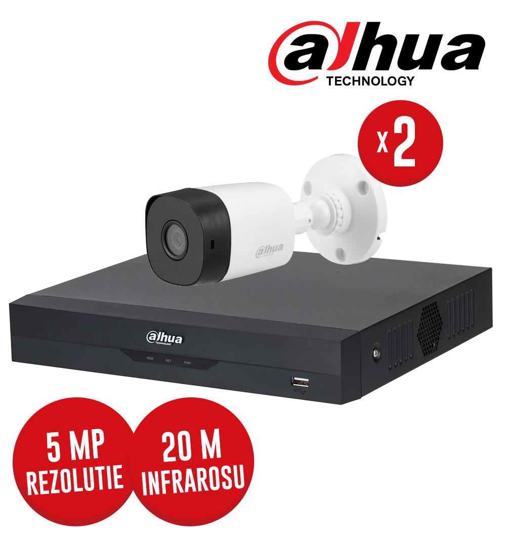 Pachet DVR 4 canale 5MP Lite si 2 camere 5MP, IR 20m, SMD Plus, fara accesorii - Dahua KIT220