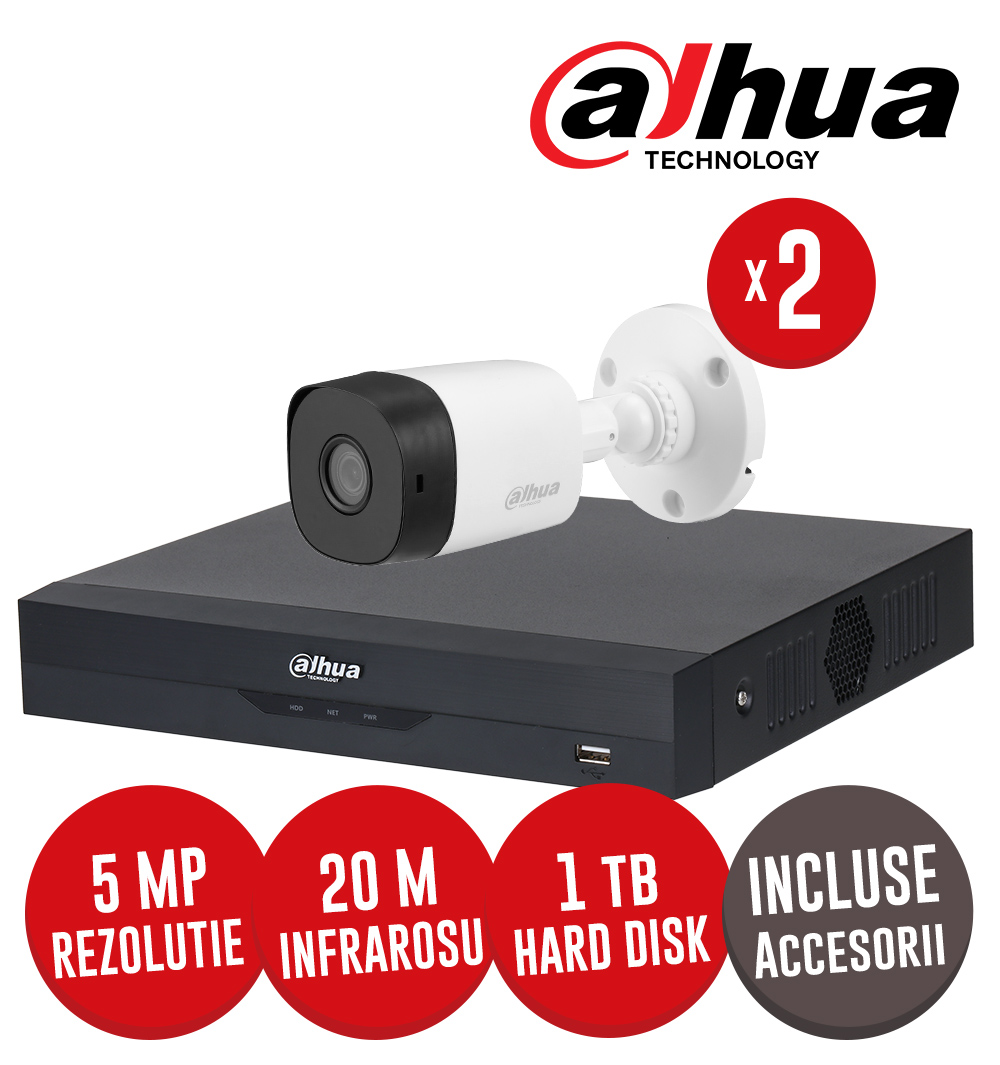 Kit complet: DVR 4 canale 5MP Lite, 2 camere 5MP, IR 20m, HDD 1TB si accesorii -  Dahua KIT222
