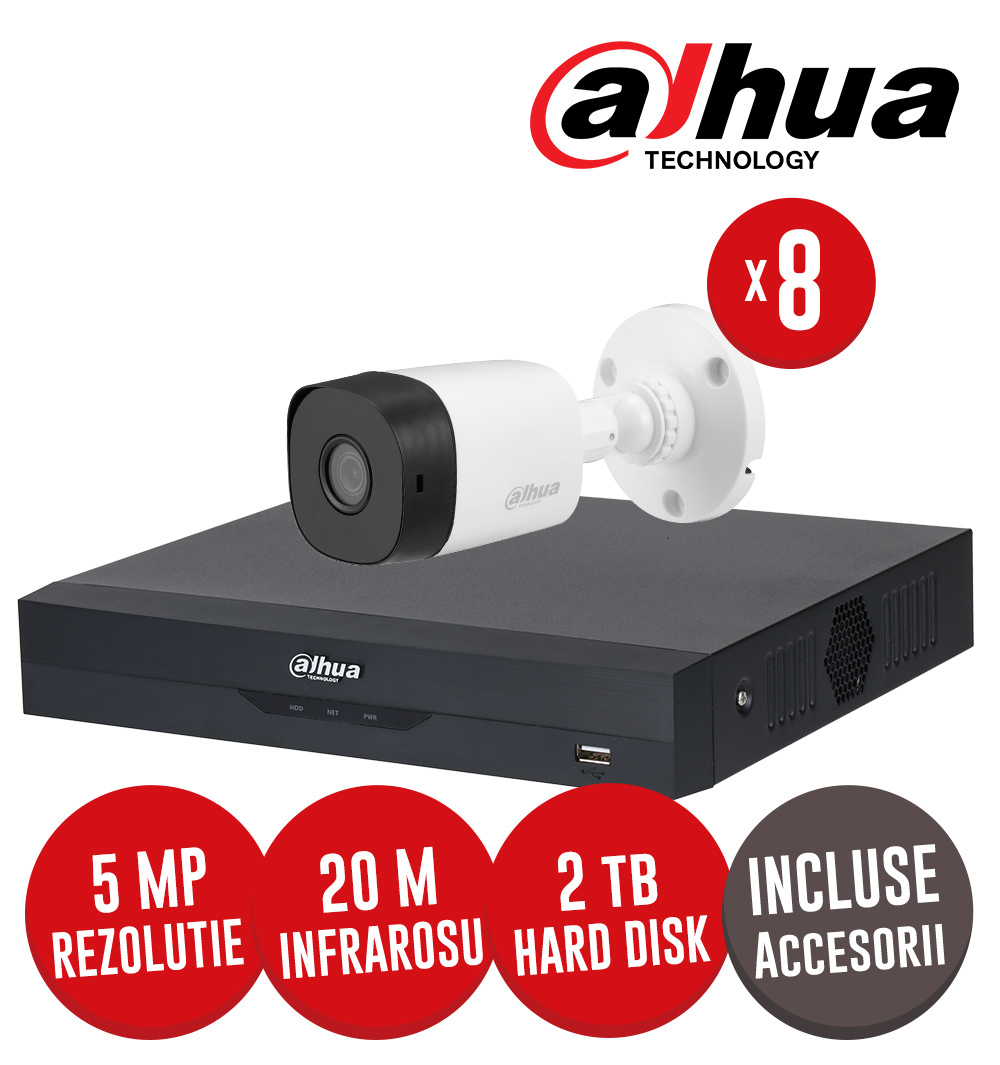 Kit complet: DVR 8 canale 5MP Lite, 8 camere 5MP, IR 20m, HDD 2TB si accesorii - Dahua KIT224