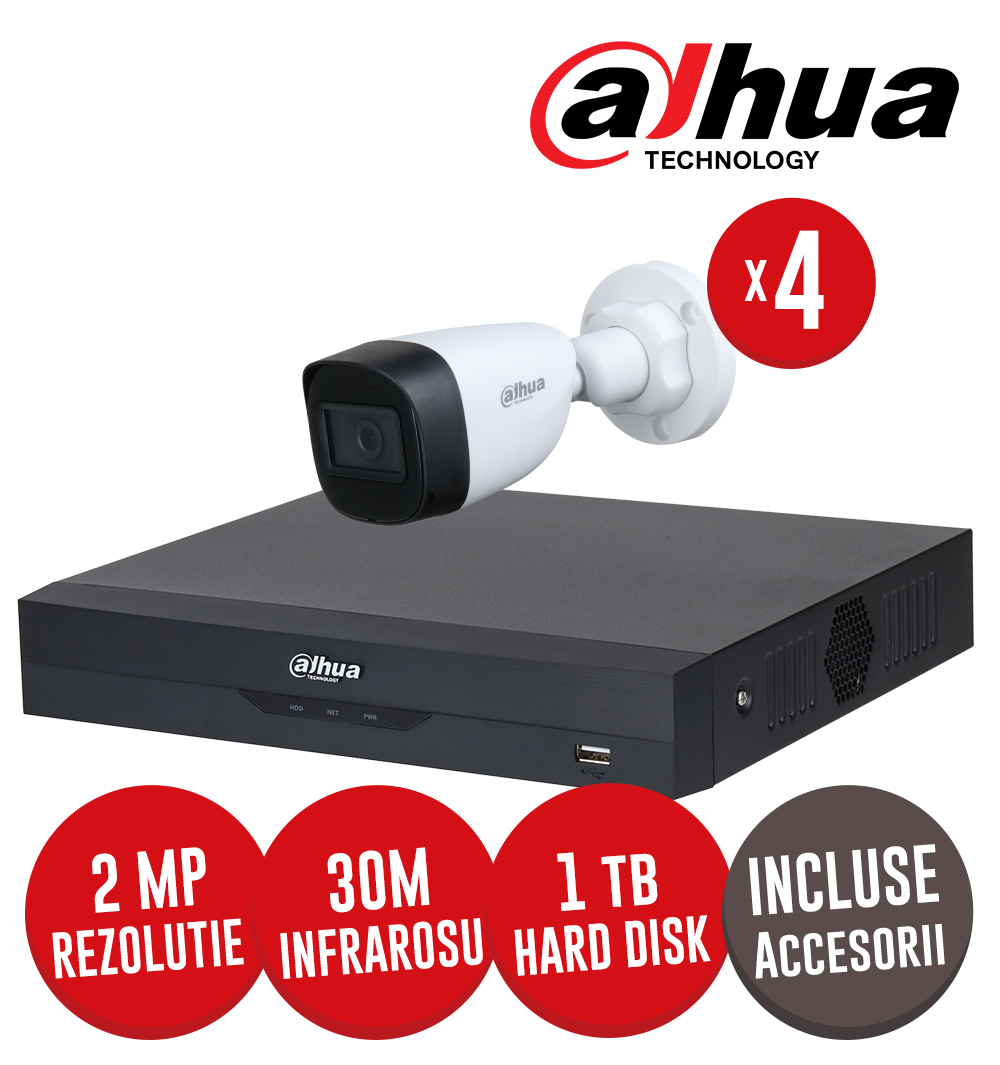 Kit complet DVR 4 canale, 4 camere 2 MP exterior, IR 30m HDD 1 TB si accesorii - Dahua  KIT226