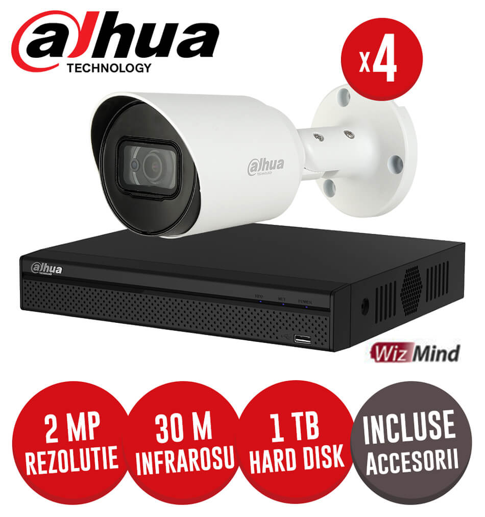 Sistem complet DVR 4 canale, 4 camere 2MP Starlight, exterior, include accesorii, cablu - KIT187