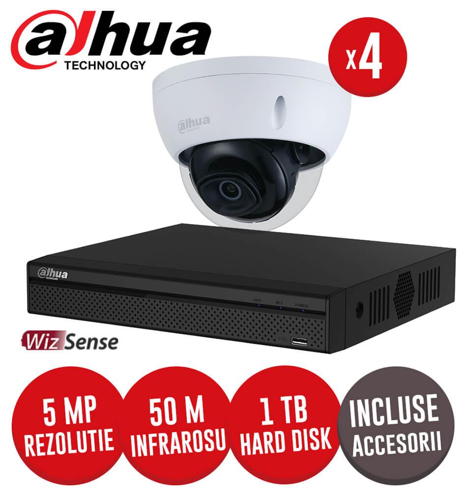 Sistem complet NVR 4 canale POE, 4 camere IP 5 Megapixeli, HDD, accesorii, cablu - KIT192
