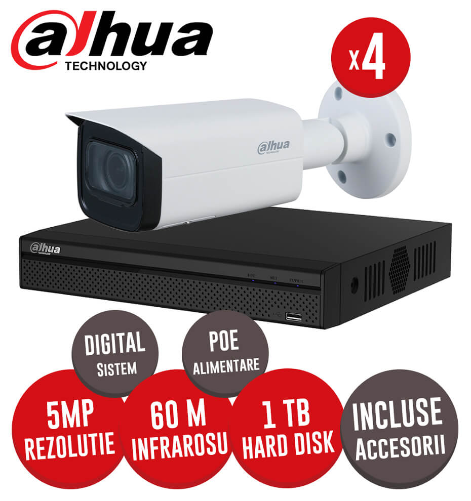 Sistem complet interior / exterior, 4 camere IP 5MP, Infrarosu 60m, NVR 4 canale, HDD 1TB -  KIT198