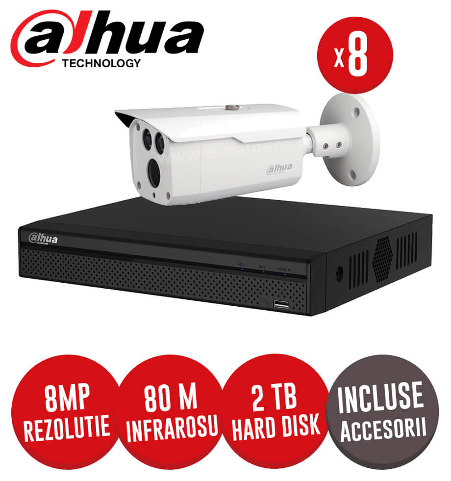 Sistem complet DVR 8 canale, 8 camere 8 MP, HDD 2TB, incluse accesorii, cablu -  KIT202