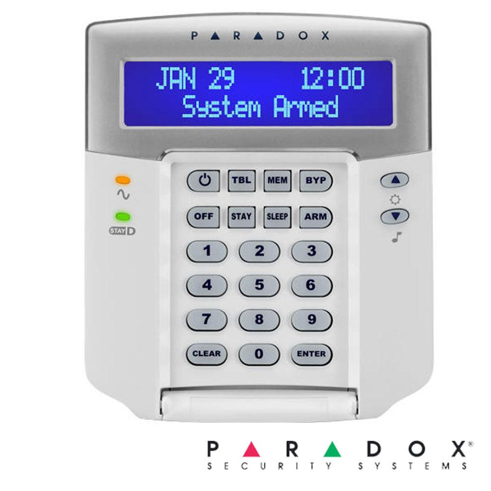 Tastatura LCD cu Pictograme, pe fir, 32 zone, 2 Partitii, 1 intrare zona - Paradox K35
