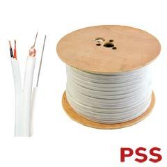 Cablu coaxial RG59 cu alimentare si sufa, culoare alba - PSS RG59-2C