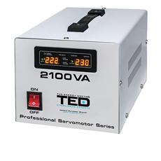 Stabilizator tensiune servomotor monofazat, display digital 2100VA / 1200W - TED Electric 2100SVC