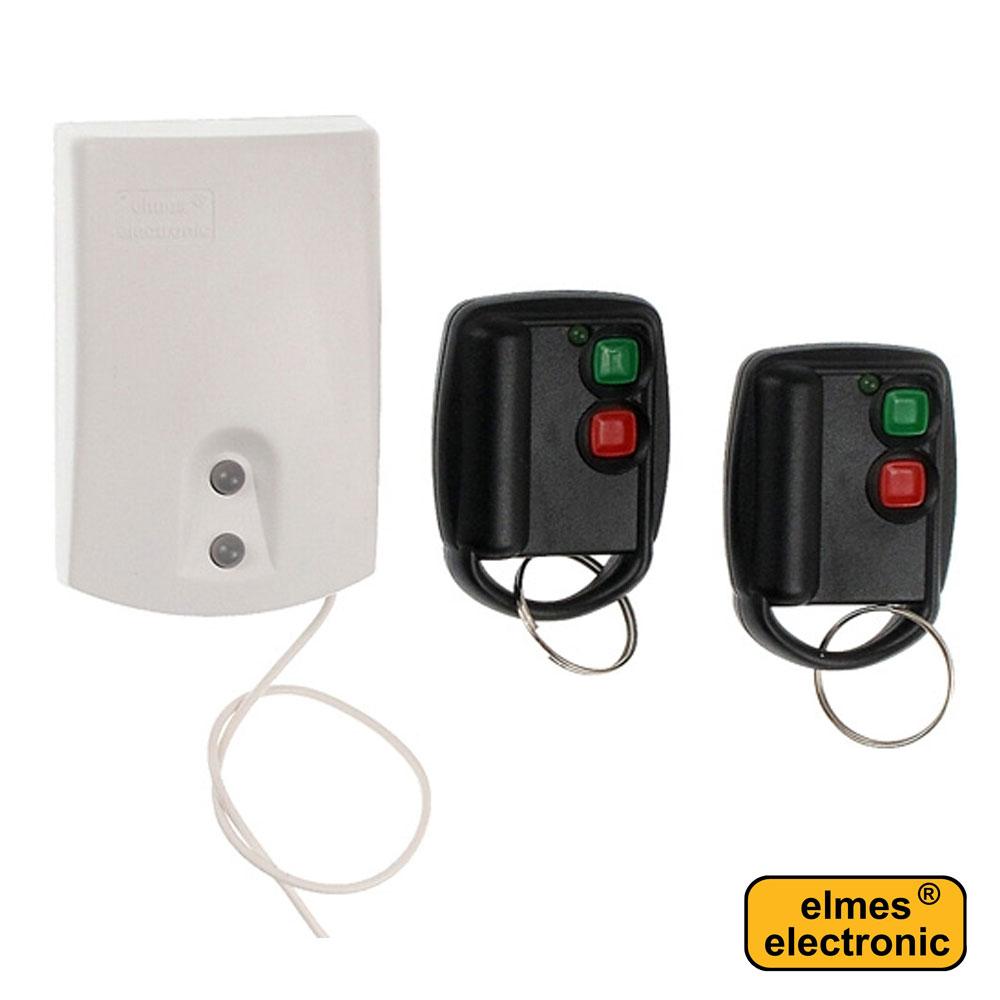 Modul receptor si 2 telecomenzi cu 2 butoane panica / armare / dezarmare - Elmes U2HS