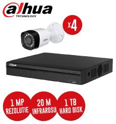 DVR, Hard Disk 1 TB si 4 camere 1MP exterior, IR 20 metri, Dahua -  KIT102