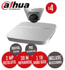 KIT Dahua - NVR, HDD 1TB, 4 camere IP 2MP, Cablu - Conectare directa prin POE -  KIT156