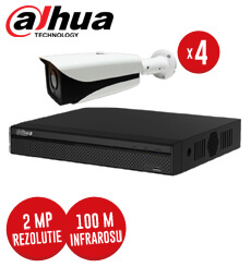 Pachet DVR 4 canale + 4 camere 2MP, IR 100 metri, exterior -  KIT79