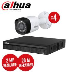 Pachet DVR 4 canale + 4 camere, exterior, 2 MP, IR 20m, fara accesorii - KIT96