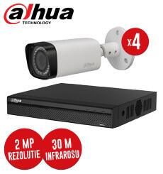 Pachet DVR 4 canale + 4 camere, exterior, 2 MP, Varifocale, IR 30m, fara accesorii - KIT93