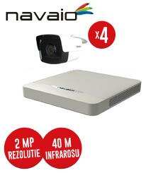 Pachet DVR 4 canale + 4 camere exterior Navaio Plus, 2 MP, IR 40 m, fara accesorii -  KIT108