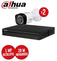 Pachet DVR 4 canale + 2 camere exterior 1MP, Dahua, fara accesorii -  KIT92
