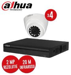 Pachet DVR 4 canale + 4 camere Interior Dahua, 2 MP, IR 20 metri, fara accesori -  KIT106