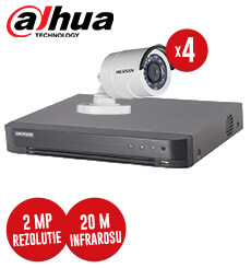 Pachet DVR 4 canale + 4 camere exterior, 2 MP, IR 20 m, Hikvision, fara accesorii -  KIT83