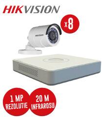 Pachet DVR 8 canale + 8 camere exterior 1 MP, IR 20 metri, Hikvision -  KIT85