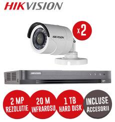 Sistem complet DVR 4 canale, 2 camere 2 Megapixeli Hikvision, incluse accesorii, cablu -  KIT71