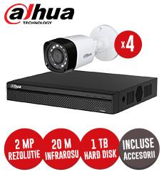 Sistem complet DVR 1080P, 4 camere exterior 2 Megapixeli Dahua, accesorii si cabluri -  KIT65