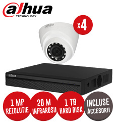 Sistem complet DVR 1080N, 4 camere Interior 1MP Dahua, accesorii si cabluri - KIT104