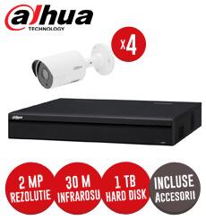 Sistem complet DVR 4 canale, 4 camere 2MP, IR 30 metri, Dahua, HDD 1TB + accesorii -  KIT107